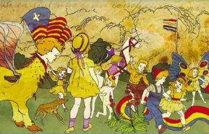 Henry Darger Jr. piece from- The Story of the Vivian Girls, in What is Known as the Realms of the Unreal, of the Glandeco-Angelinian War Storm, Caused by the Child Slave Rebellion