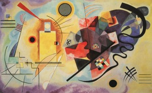 """Yellow-Red-Blue"" 1925 year Oil on canvas 127х200 sm  Paris, Musee National Art Moderne, Centre Georges Pompidou From- wassilykandinsky.net"