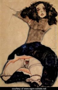 Black Haired Girl with High Skirt- Egon Schiele