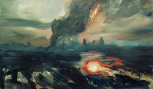 Flood (2) (Strange Weather series). 2005. Oil on canvas- Joy Garnett