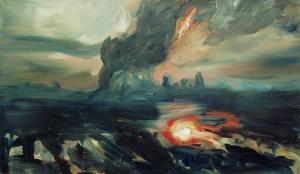 Flood (2) (Strange Weather series). 2005. Oil on canvas- Joy Garnett