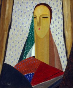 Femme au long cou (fond mouchete), 1922, by Jean Crotti