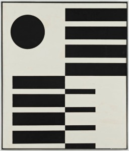 "John McLaughlin, ""Untitled,"" 1951. Oil on Masonite. 23 3/4 × 27 3/4"""