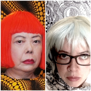 Yayoi and myself…I had to do my own version of a portrait in her style.  I am in front of my own work, wearing a scarf I had done.  And of course I had to don a wig!