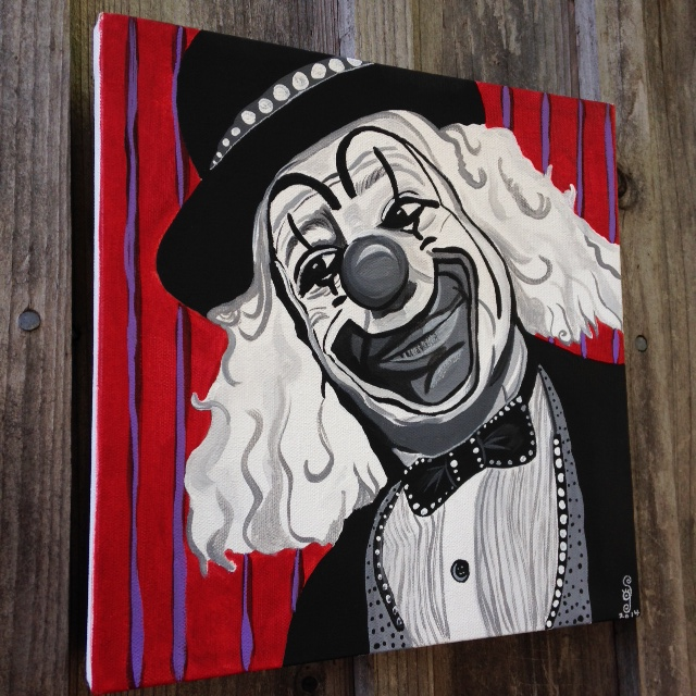 (Side-View) Le Clown Heureux- Tribute to Camille Bombois Linda Cleary 2014 Acrylic on Canvas