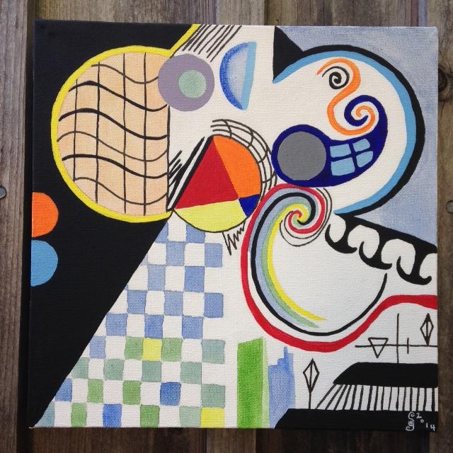 Através do Portal (Through the Portal)- Tribute to Nadir Afonso Linda Cleary 2014 Acrylic on Canvas