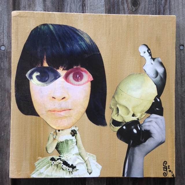 It's for you- Tribute to Hannah Hoch Linda Cleary 2014 Acrylic/Paper/glue on canvas