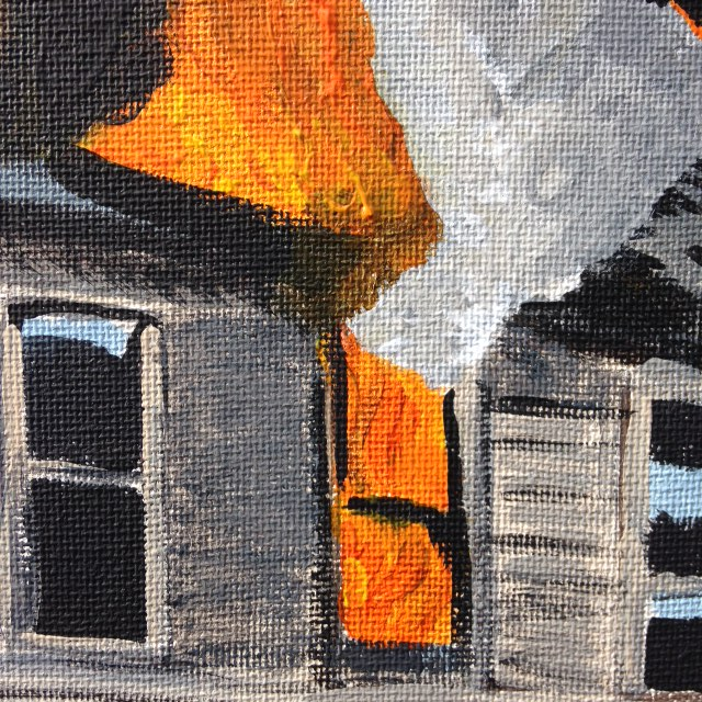 Close Up 1 The Roof is on Fire- Tribute to Joy Garnett Linda Cleary 2014 Acrylics on canvas