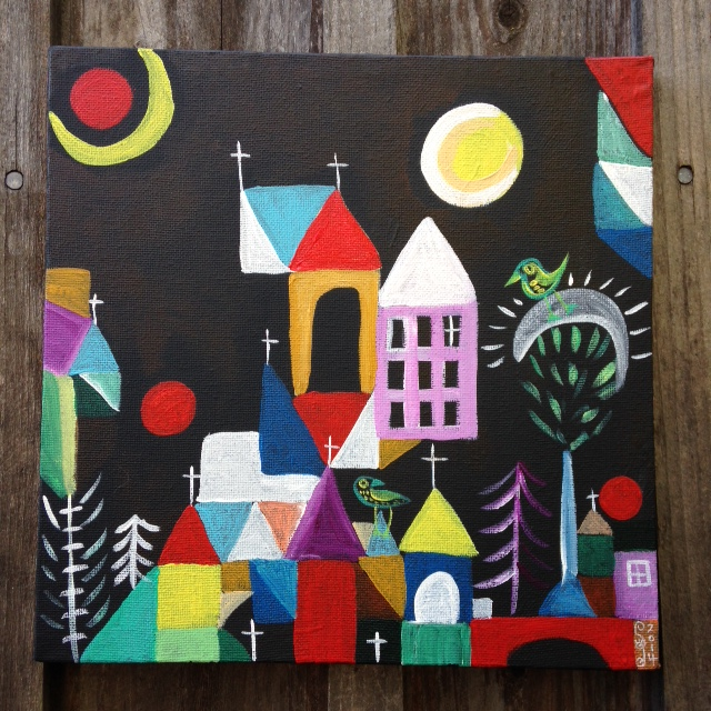 Churches, Sun and Moon- Tribute to Paul Klee Linda Cleary 2014 Acrylic on canvas