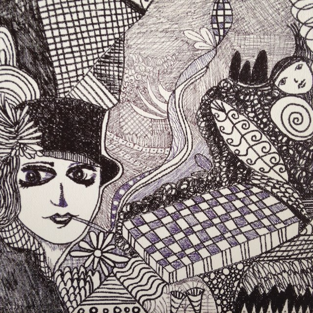 Girl Smoking- Tribute to Madge Gill- Linda Cleary 2014- Pen & Ink on canvas