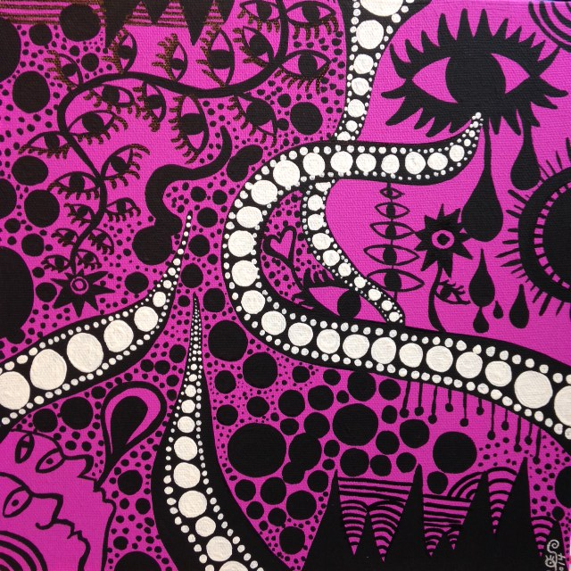 """""""My mind was wandering at dinner""""- Tribute to Yayoi Kusama Linda Cleary 2014 Acrylic on canvas"""