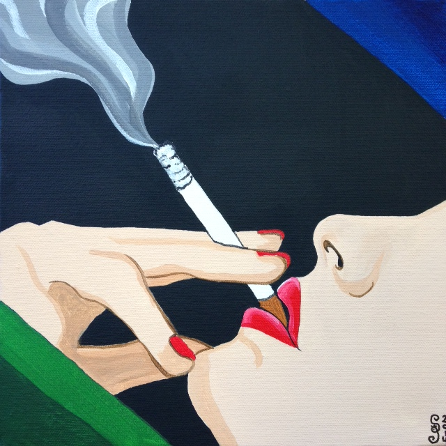 (Close-Up) Woman Smoking Study- Tribute to Tom Wesselmann Linda Cleary 2014 Acrylic on Canvas