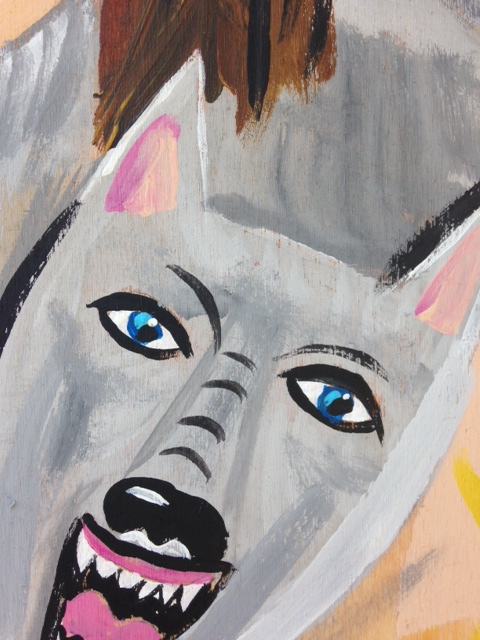Close Up 2 Lupo Lupo- Tribute to Brad Greenwood Linda Cleary 2014 Acrylic/pencil on wood panel