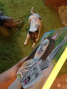 Painting on wood panel!  I love painting on wood…such a smooth surface.  Also, here are my two useless painting assistants.