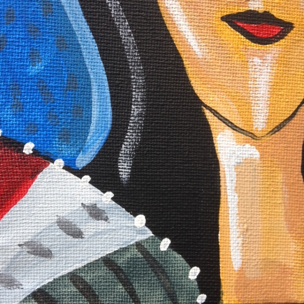 Close Up 2 La Réflexion- Tribute to Jean Crotti Linda Cleary 2014 Acrylic on canvas