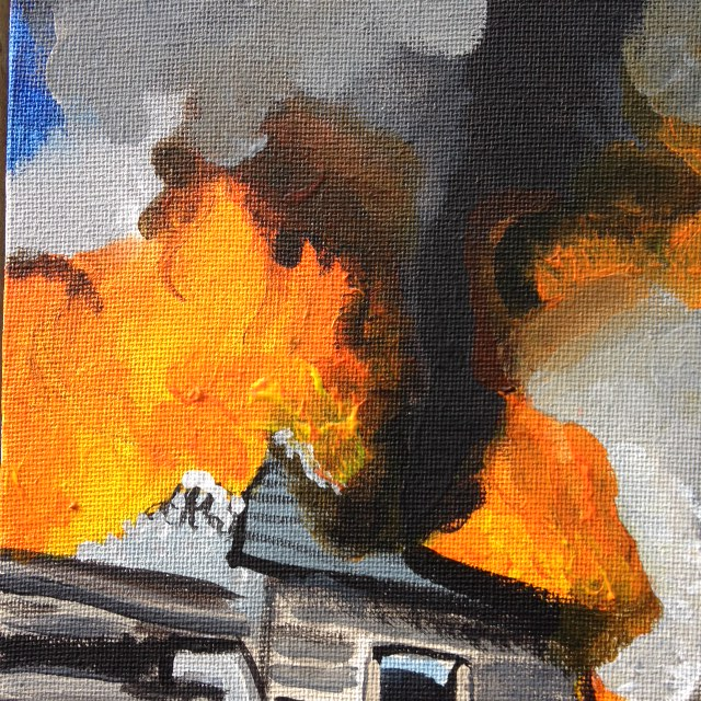 Close-Up 2 The Roof is on Fire- Tribute to Joy Garnett Linda Cleary 2014 Acrylics on canvas