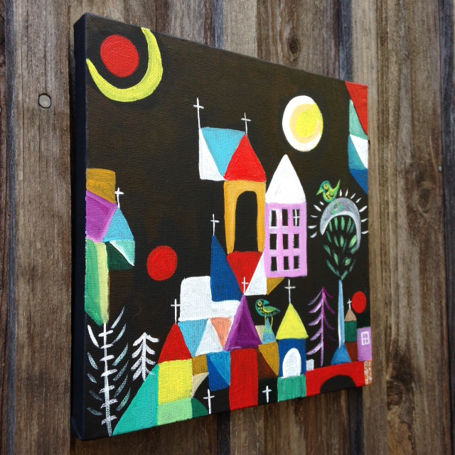 Side-View Churches, Sun and Moon- Tribute to Paul Klee Linda Cleary 2014 Acrylic on canvas