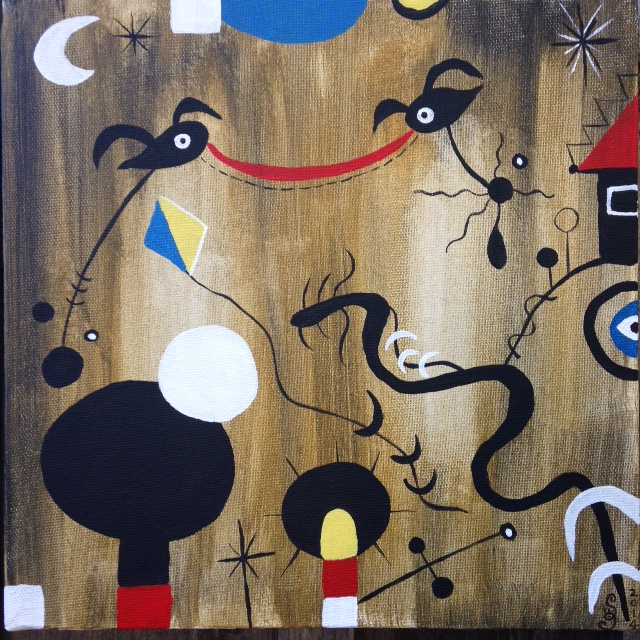 Pájaros en Vuelo (Birds in Flight)- Tribute to Joan Miro Linda Cleary 2014 Acrylic on canvas