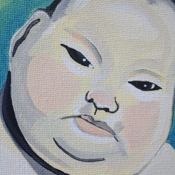 Close-Up Side-View Fat Baby- Tribute to Marlene Dumas Linda Cleary 2014 Acrylic on Canvas