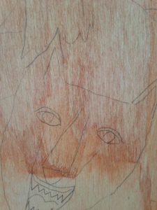Did a light brown wash on the wooden panel…so that the wood grain would pop a bit…not sure if it made a difference. :)