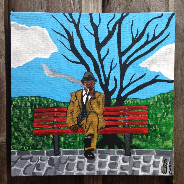 Man on Bench Smoking- Tribute to Horace Pippin Linda Cleary 2014 Acrylic on Canvas