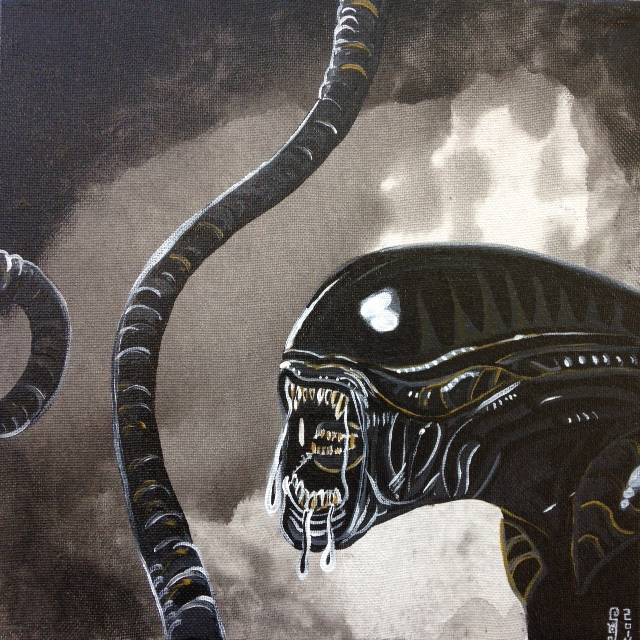 A.L.I.E.N.- Tribute to H.R. Giger Linda Cleary 2014 Acrylic on Canvas