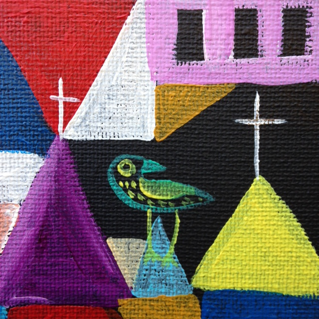 Close-up Churches, Sun and Moon- Tribute to Paul Klee Linda Cleary 2014 Acrylic on canvas
