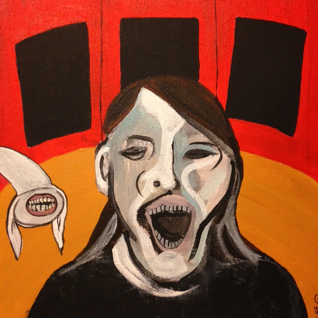 Study for a Woman Screaming- Tribute to Francis Bacon- Linda Cleary 2014 Acrylic on canvas