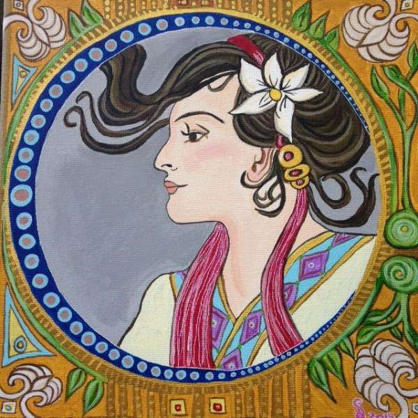 Springtime- Tribute to Alphonse Mucha Linda Cleary 2014 Acrylic on canvas
