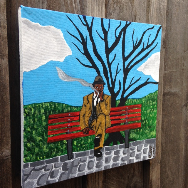 Side-View Man on Bench Smoking- Tribute to Horace Pippin Linda Cleary 2014 Acrylic on Canvas