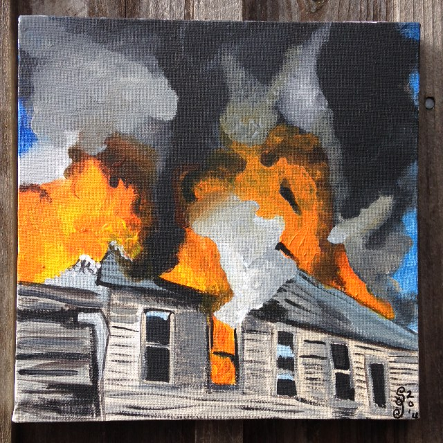 The Roof is on Fire- Tribute to Joy Garnett Linda Cleary 2014 Acrylics on canvas