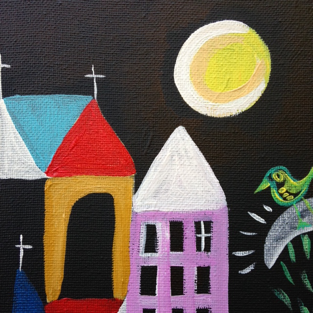 Close-Up 2 Churches, Sun and Moon- Tribute to Paul Klee Linda Cleary 2014 Acrylic on canvas