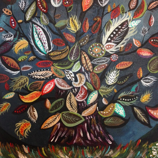 Flowering Tree- Tribute to Seraphine Louis- Linda Cleary 2014- Acrylic on canvas