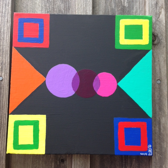 Kreise Und Quadrate- Tribute to Johannes Itten- Linda Cleary 2014- Acrylic on canvas