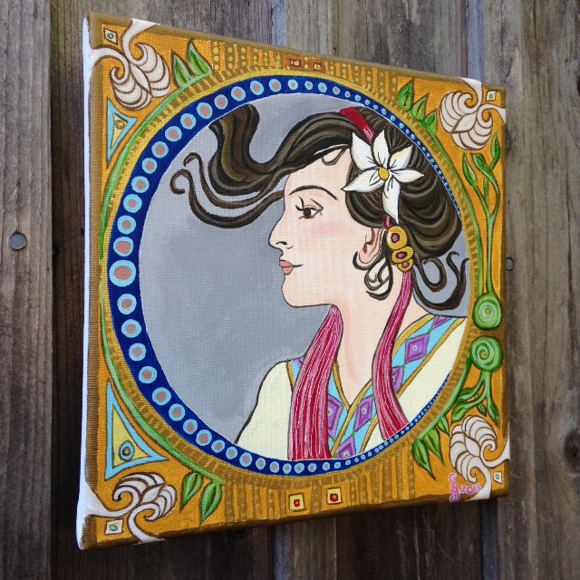 Side-View Springtime- Tribute to Alphonse Mucha Linda Cleary 2014 Acrylic on canvas