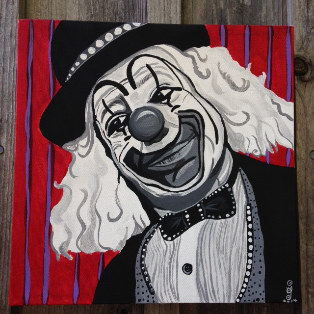 Le Clown Heureux- Tribute to Camille Bombois Linda Cleary 2014 Acrylic on Canvas