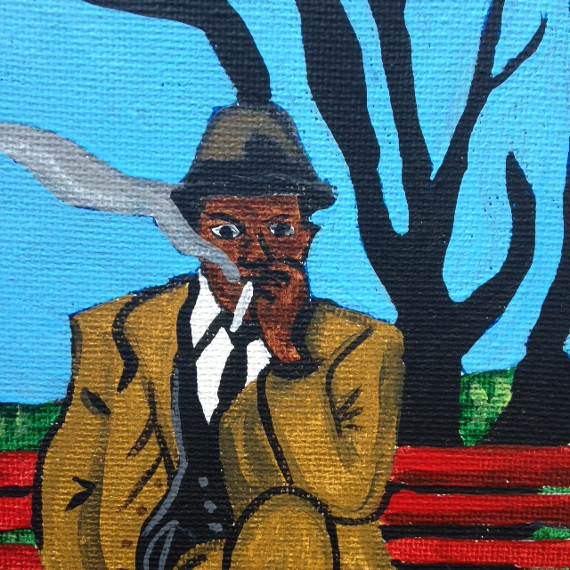 Close-Up Man on Bench Smoking- Tribute to Horace Pippin Linda Cleary 2014 Acrylic on Canvas
