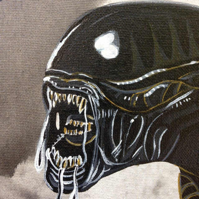 Close-Up A.L.I.E.N.- Tribute to H.R. Giger Linda Cleary 2014 Acrylic on Canvas