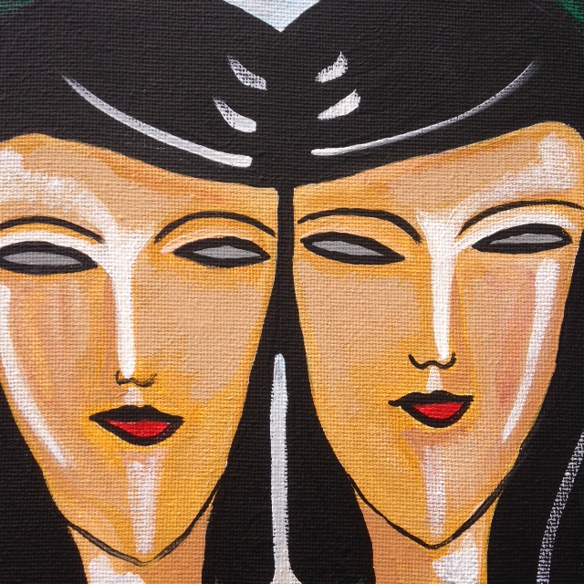 Close-Up 1 La Réflexion- Tribute to Jean Crotti Linda Cleary 2014 Acrylic on canvas