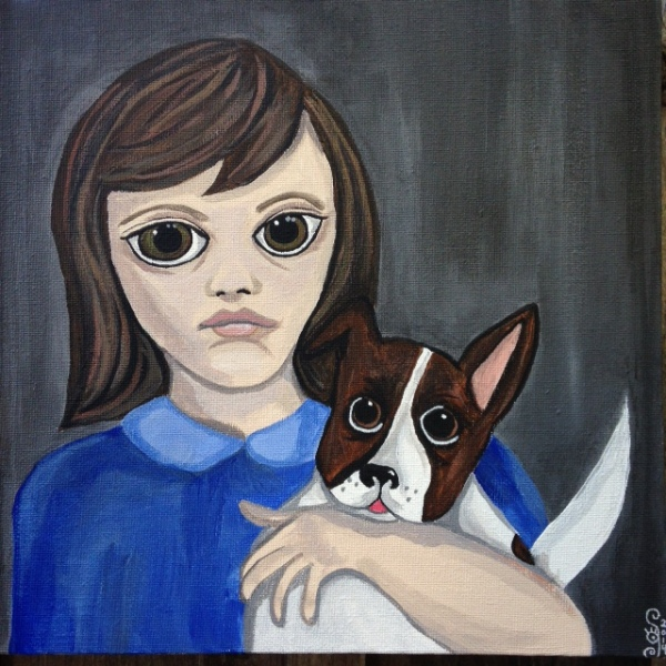 Taco and Mama- Linda Cleary 2014- Tribute to Margaret Keane Acrylic on Canvas