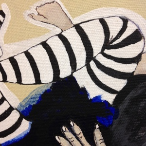 Close- up Girl in striped stockings- Tribute to Egon Schiele- Linda Cleary 2014 Acrylic on canvas
