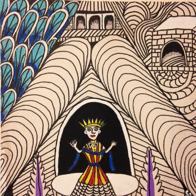 Untitled (Madonna in Tunnel)- Tribute to Martin Ramirez Linda Cleary 2014 Pen/Ink & Acrylic on Canvas