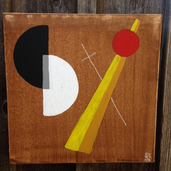 Szögek és körök- Tribute to László Moholy-Nagy Linda Cleary 2014 Acrylic on Canvas