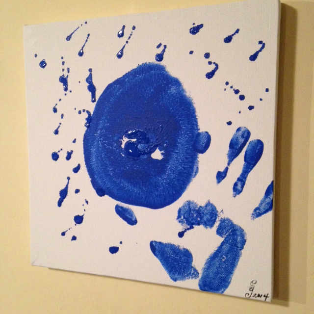 Side-View Mono-Boob- Tribute to Yves Klein Linda Cleary 2014 Acrylic on Canvas