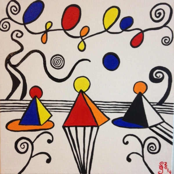 Magical Pyramids- Tribute to Alexander Calder Linda Cleary 2014 Acrylic on canvas