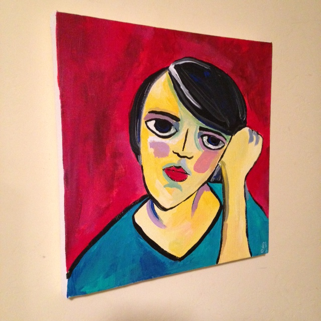 Side- View Self-Portrait- Tribute to Alexej von Jawlensky Linda Cleary 2014 Acrylic on Canvas