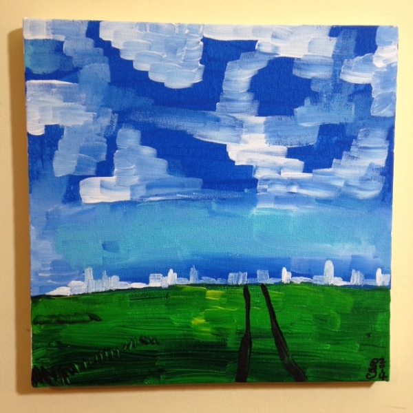 Country meets City- Tribute to Nicolas de Staël Linda Cleary 2014 Acrylic on Canvas