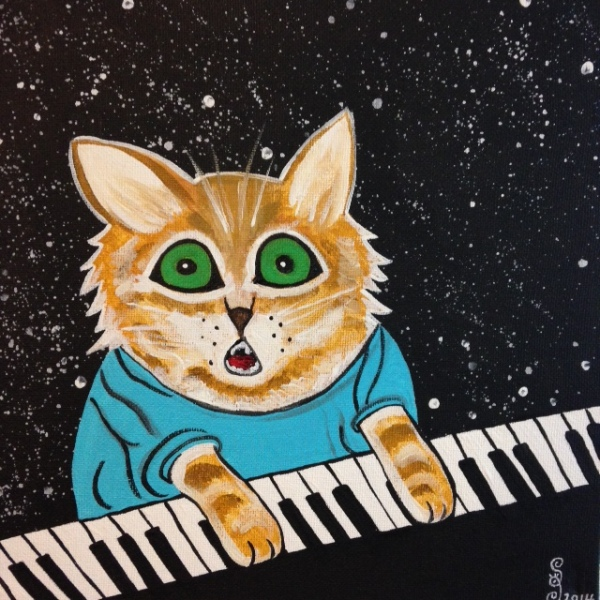 Keyboard Cat- Tribute to Louis Wain Linda Cleary 2014 Acrylic on Canvas