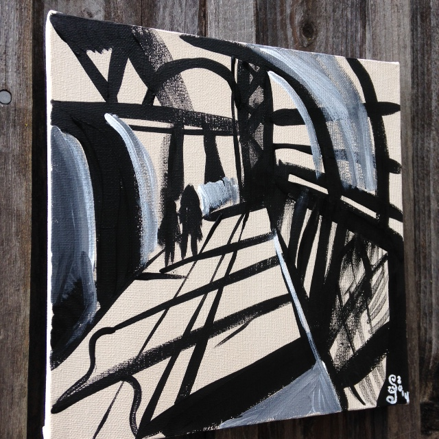 Side-View Painting Number 43- Tribute to Franz Kline Linda Cleary 2014 Acrylic on Canvas