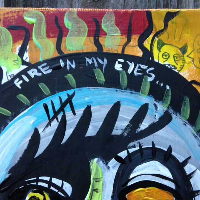 Close-Up 1 There are Secrets under Me and My Puppet- Tribute to Jean Michel Basquiat Linda Cleary 2014 Acrylic/Pen/Paper/Glue on Canvas